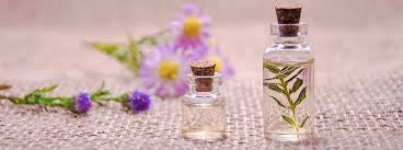 Essential oils in glass bottles with botanical backdrop