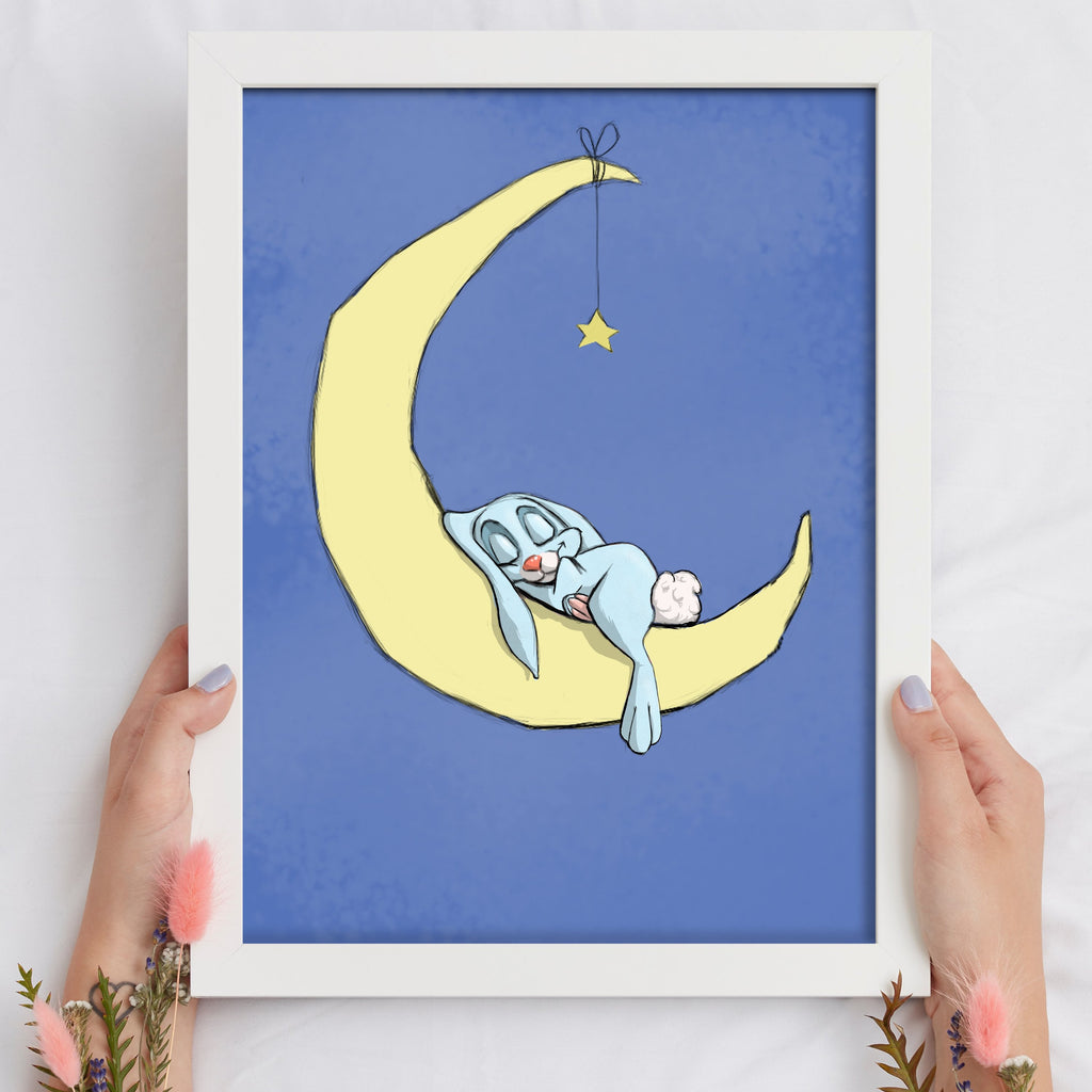 A Night On The Moon - Boy Bunny (Framed) - Tiny Dream Factory