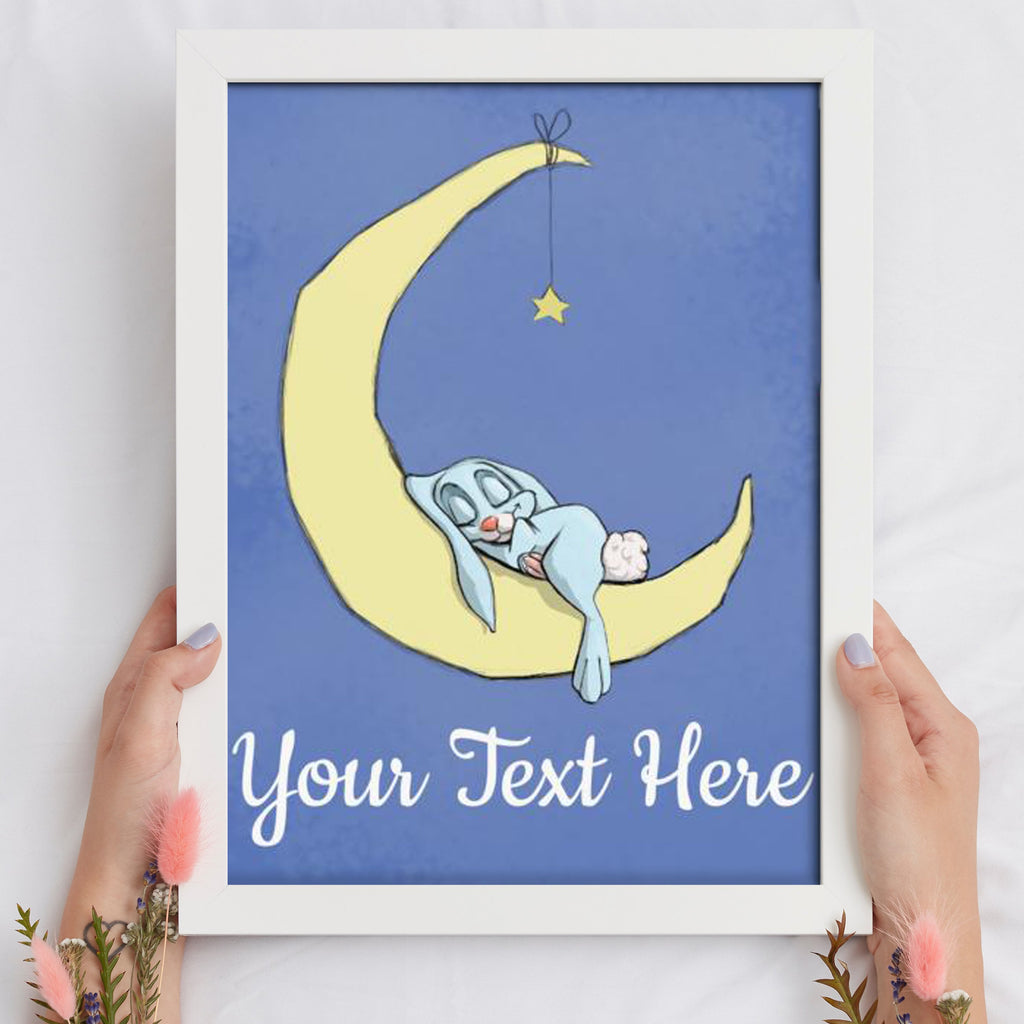 A Night On The Moon - Boy Bunny (Framed Custom Print) - Tiny Dream Factory