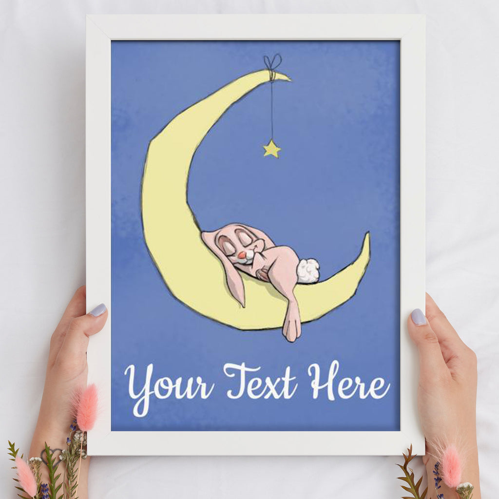 A Night On The Moon - Girl Bunny (Framed Custom Print) - Tiny Dream Factory