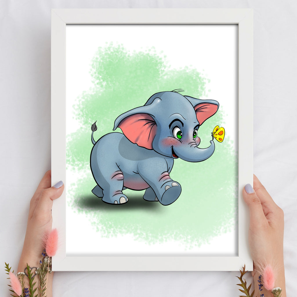 Animal Safari - Elephant (Framed) - Tiny Dream Factory