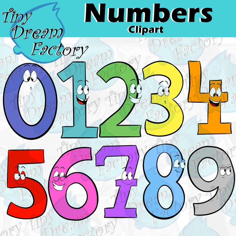 Numbers Clipart- Fun Character Numbers