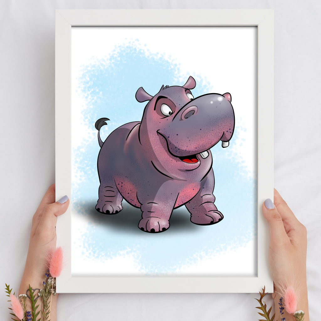 Animal Safari - Hippo (Framed) - Tiny Dream Factory
