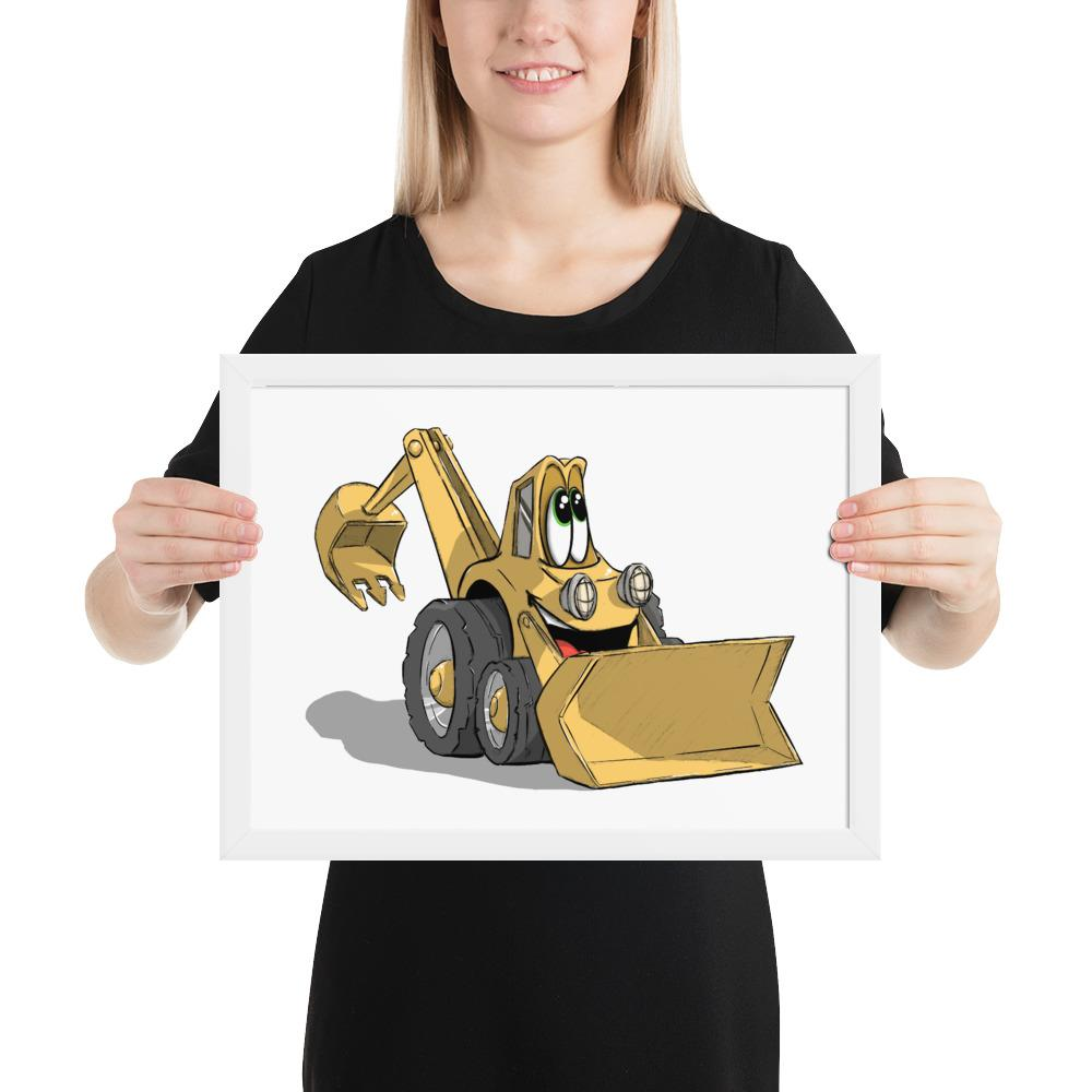 Adorable Trucks - Backhoe (Framed) - Tiny Dream Factory