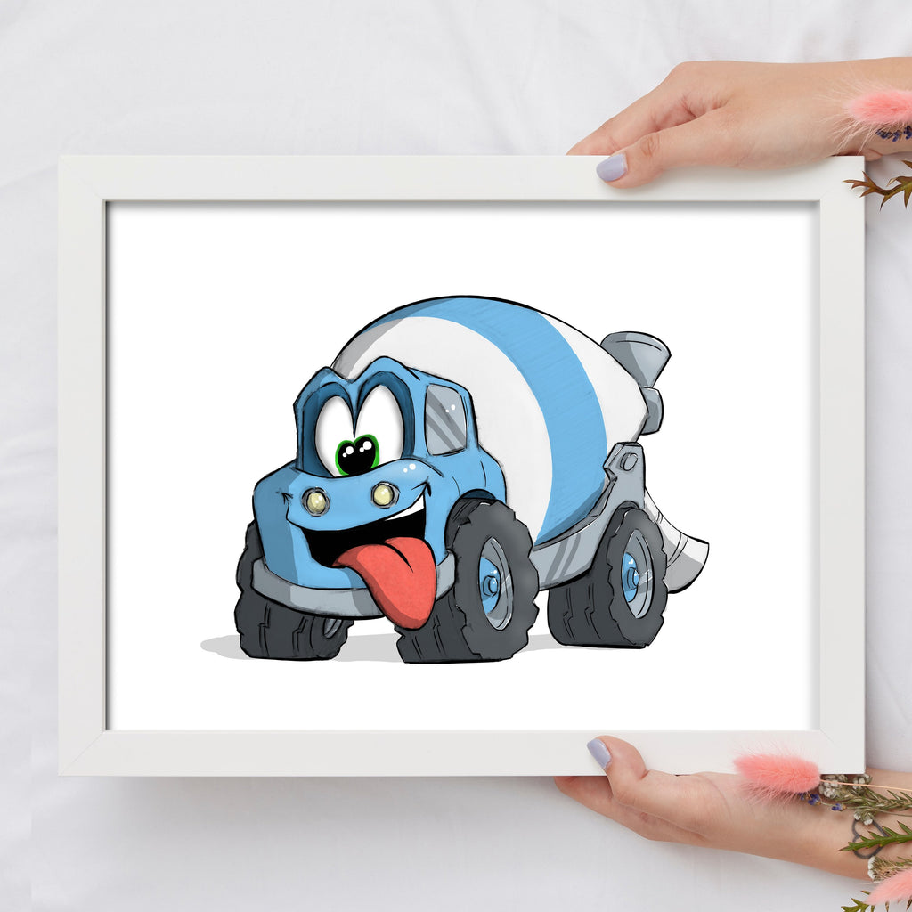 Adorable Trucks - Cement Truck (Framed) - Tiny Dream Factory