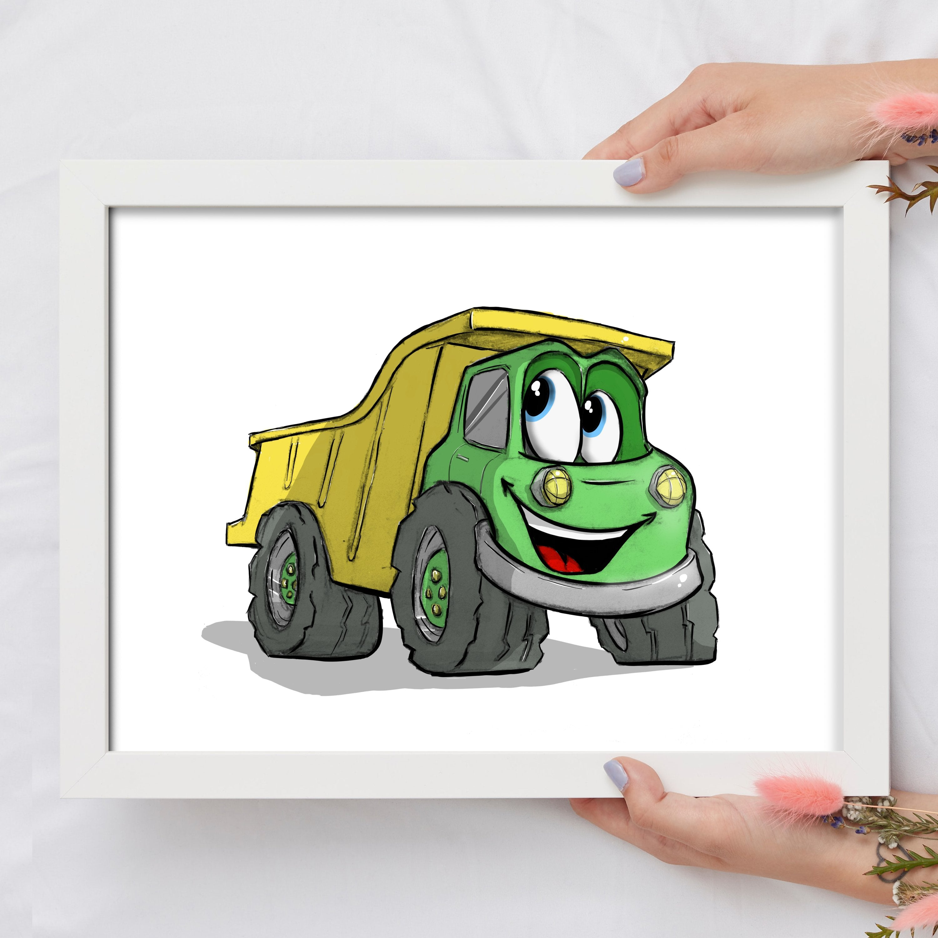 Adorable Trucks - Dump Truck (Framed) - Tiny Dream Factory