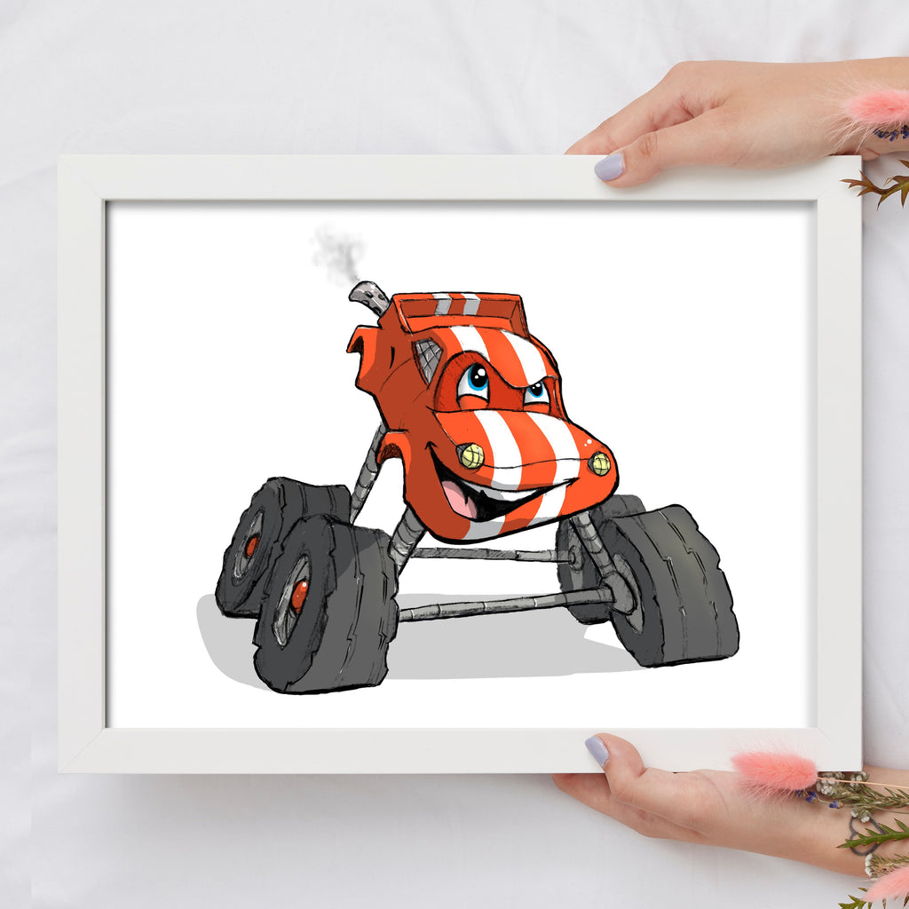 Adorable Trucks - Monster Truck (Framed) - Tiny Dream Factory