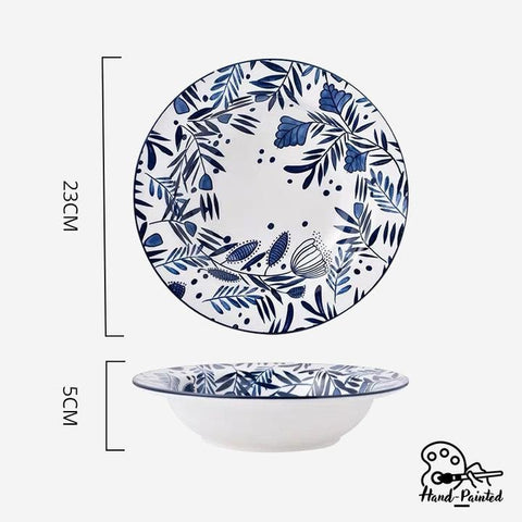 Rosemary Blue - Hand Painted 9-inch Pasta Plate