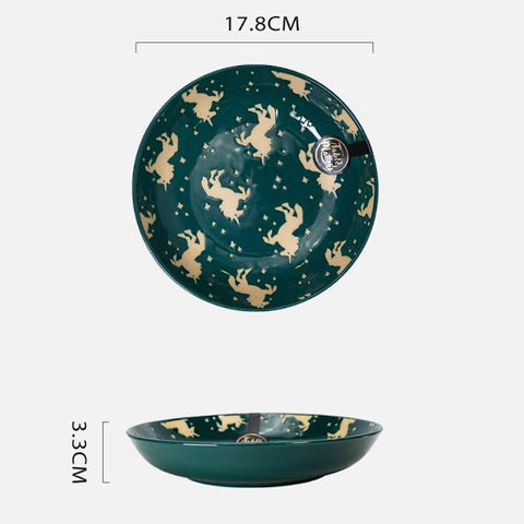 Unicorn Green - Hand Painted 7 inch Coupe Plate