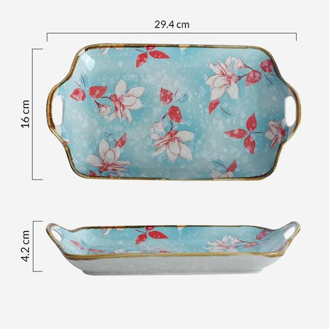 Magnolia - 11.8 inch Rectangular Plate with Handles