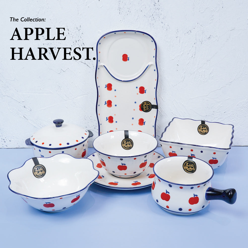 Apple Harvest - Hand Painted 12 inch Rectangle Compartment Plate