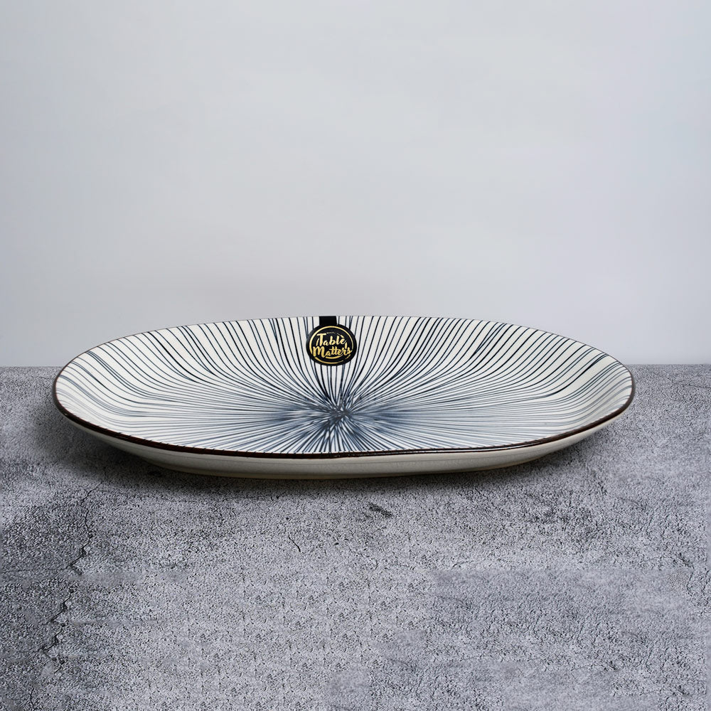 Blue Illusion - 12 inch Oval Shaped Plate - Table Matters