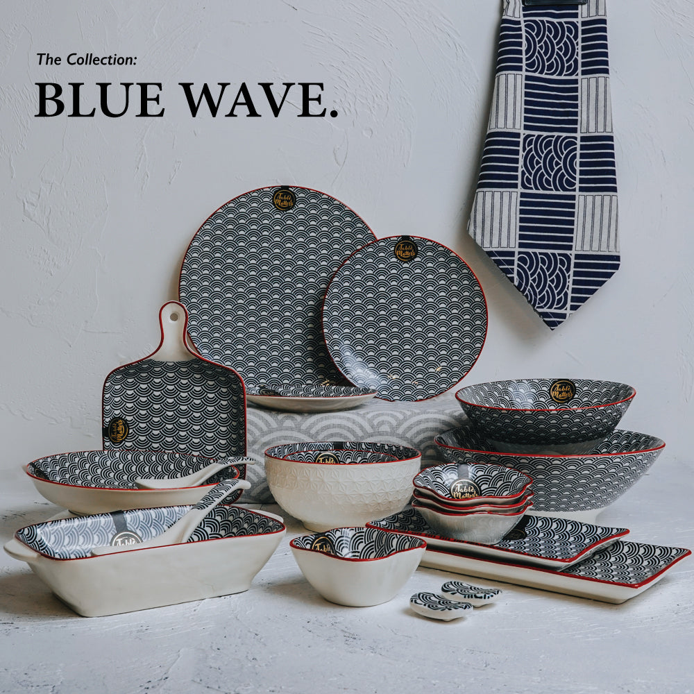 Blue Wave - 8 inch Rectangular Ripple Plate