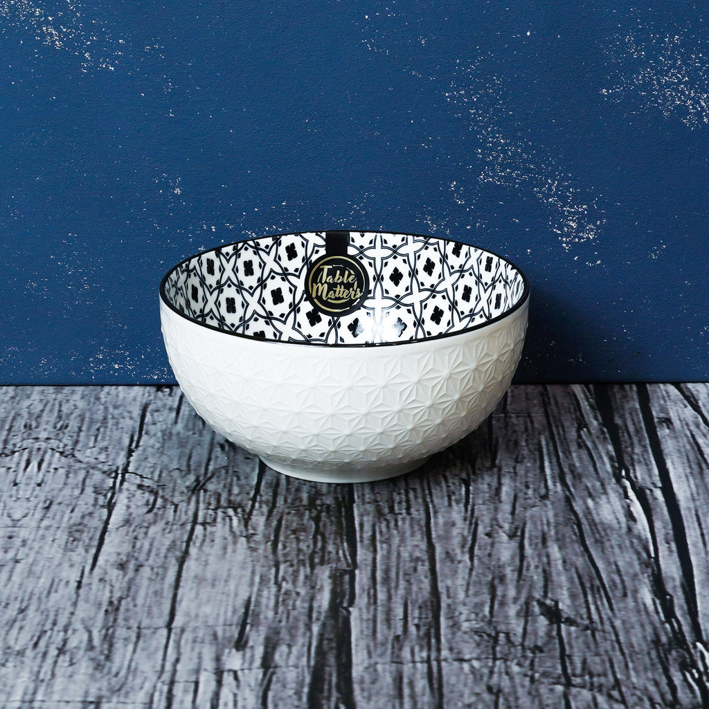 Crisscross Blue - 4.5 inch Rice Bowl / 6 inch Soup Bowl / 8 inch Big Serving Bowl