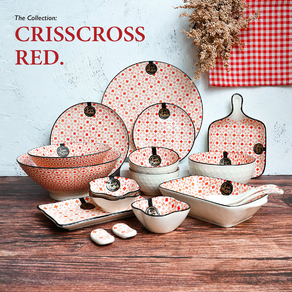 Crisscross Red - 8.5 inch Baking Dish with Handles