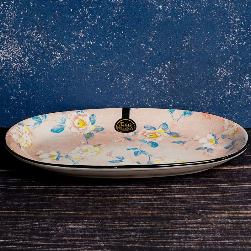 Camellia - 12 inch Oval Shaped Plate - Table Matters