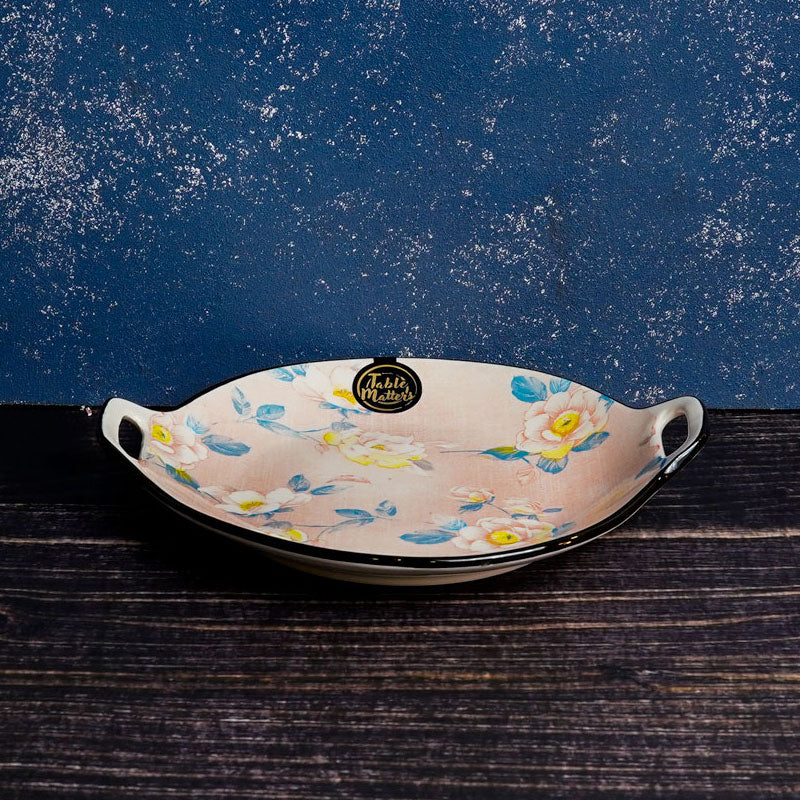 Camellia - 9 inch Oval Plate With Handles - Table Matters