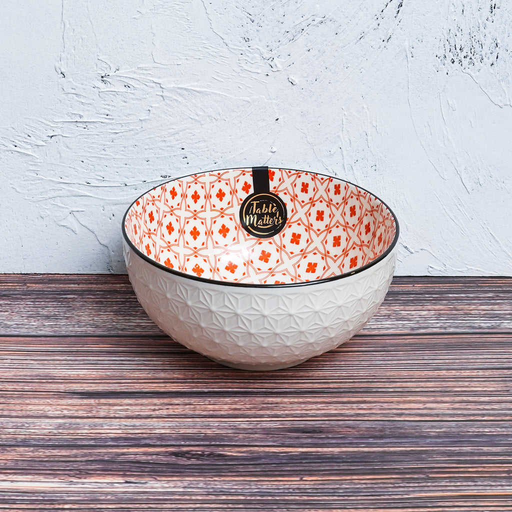 Crisscross Red - 4.5 inch Rice Bowl / 6 inch Soup Bowl / 8 inch Big Serving Bowl - Table Matters