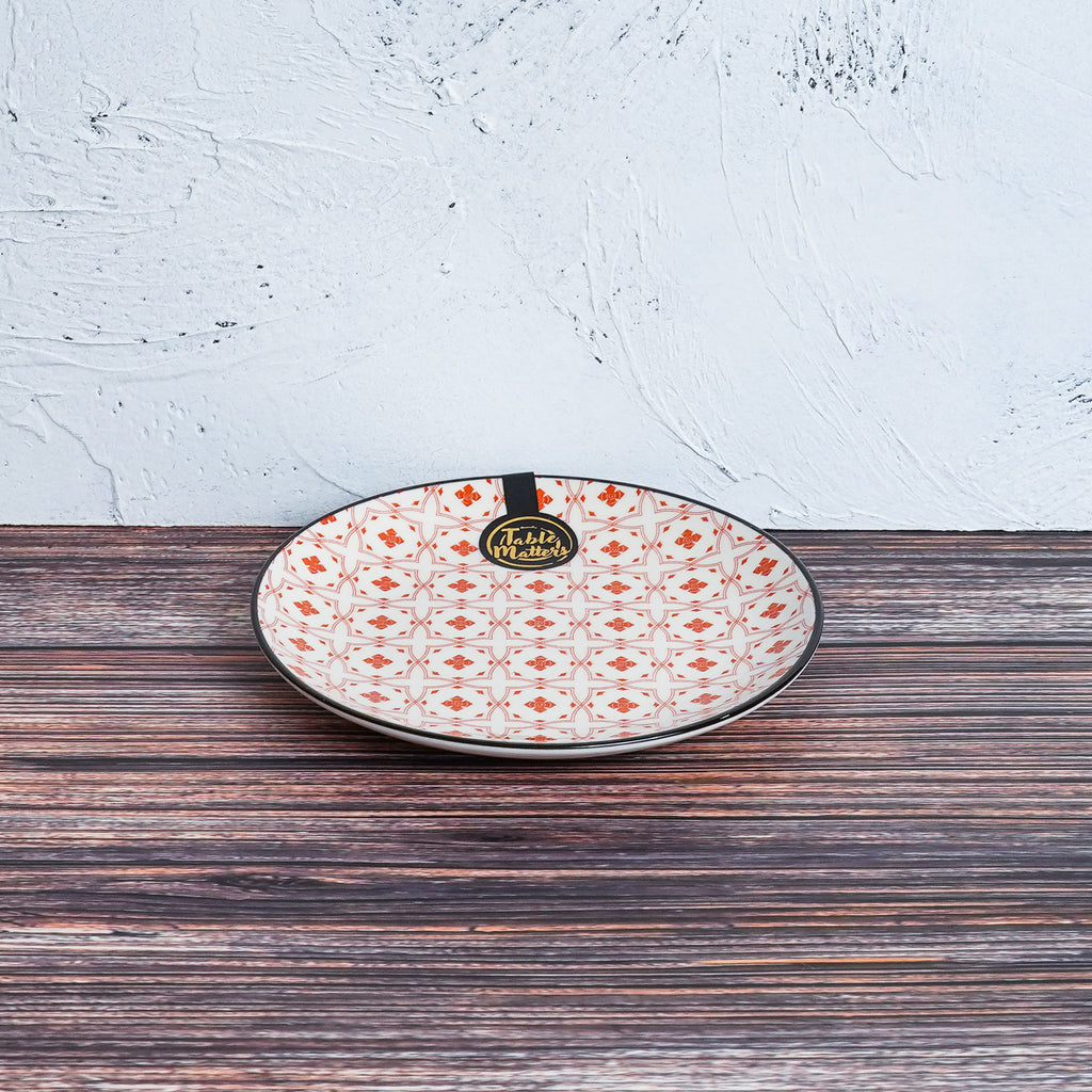 Crisscross Red - 6 inch Dessert Plate / 8 inch Rice Plate / 10.5 inch Dinner Plate - Table Matters