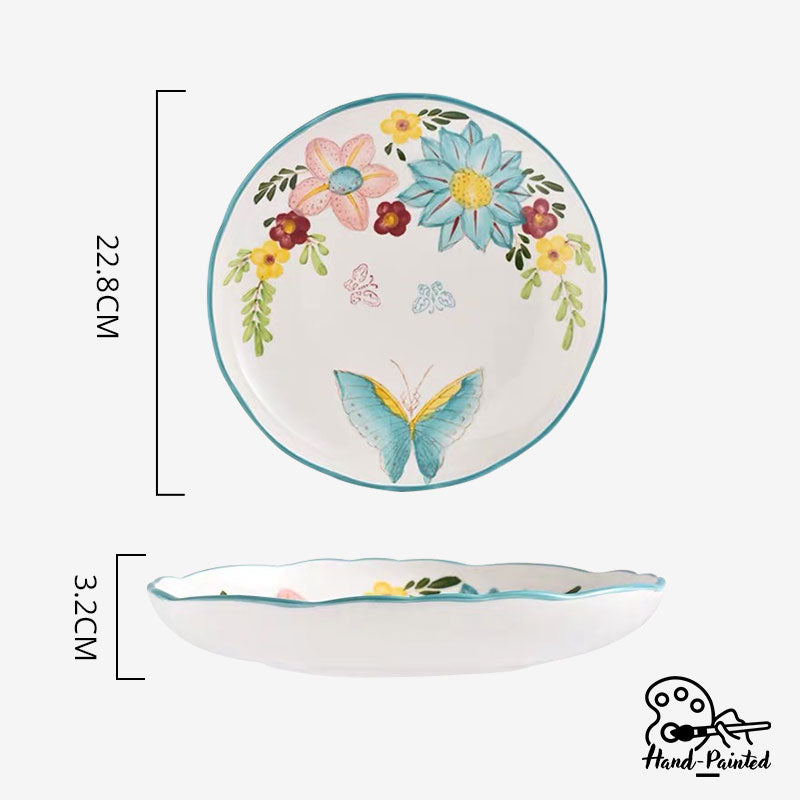 Dawnlight Garden - Hand Painted 9 inch Coupe Plate