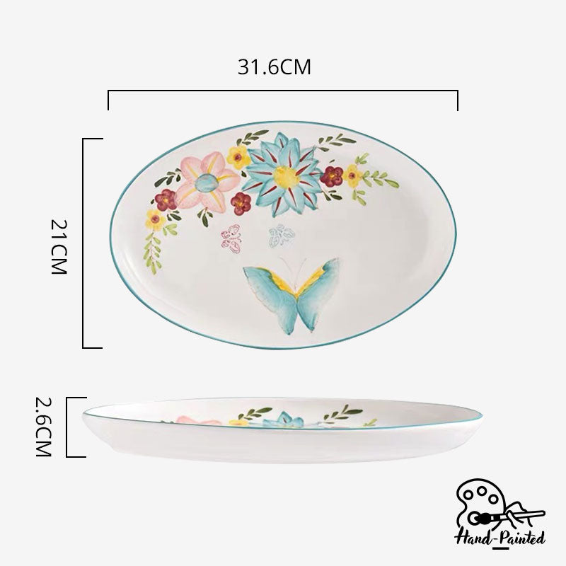 Dawnlight Garden - Hand Painted 12 inch Oval Shaped Plate - Table Matters