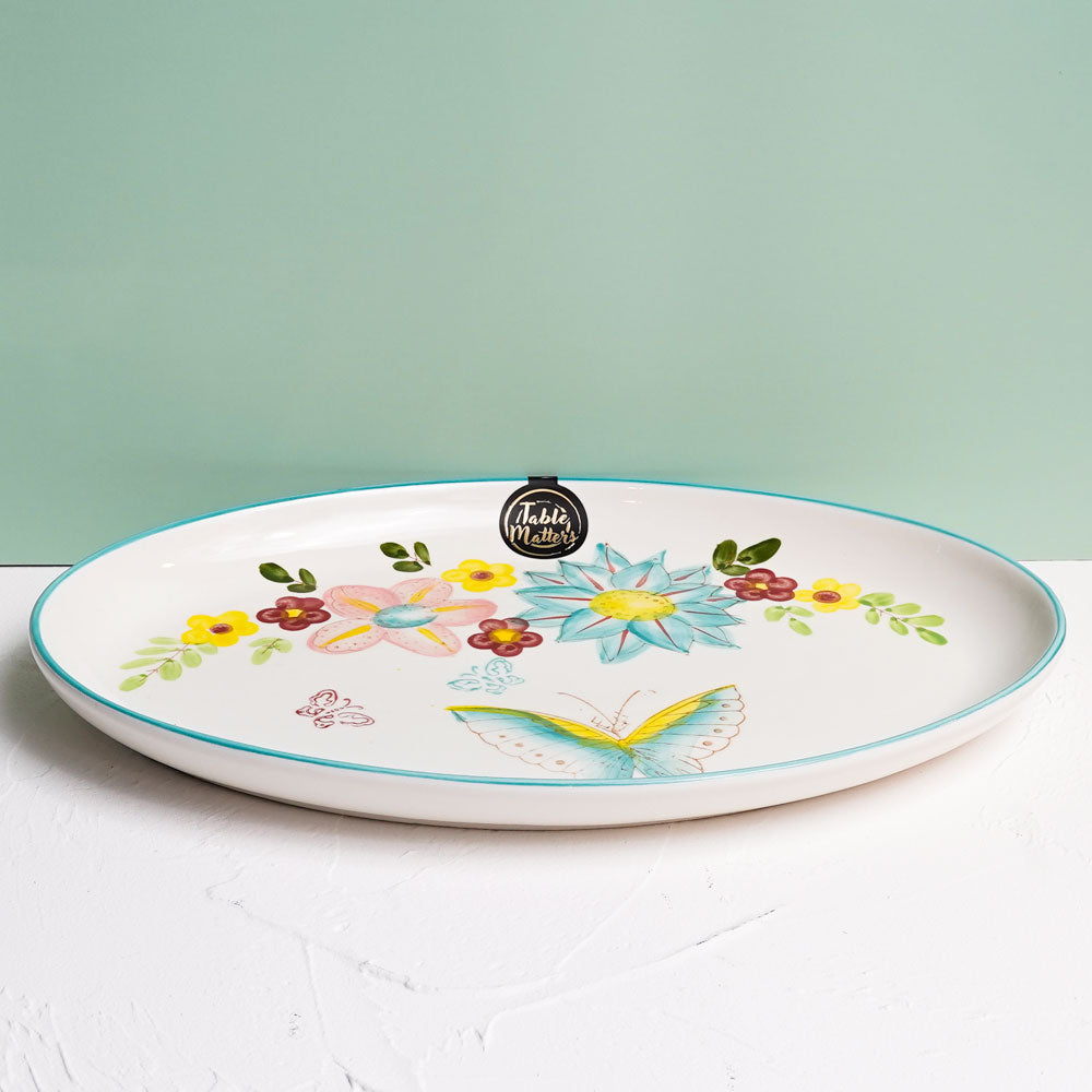 Dawnlight Garden - Hand Painted 12 inch Oval Shaped Plate