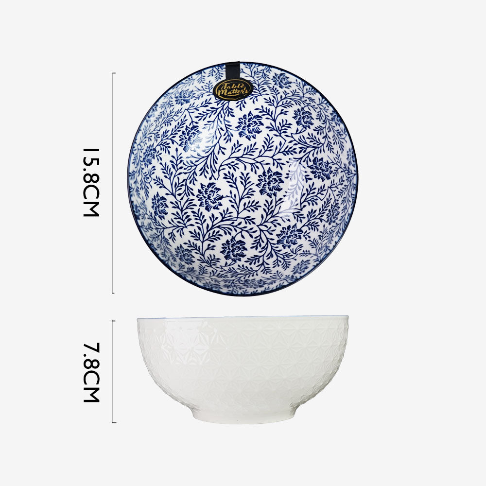 Floral Blue - 4.5 inch Rice Bowl / 6 inch Soup Bowl / 8 inch Big Serving Bowl