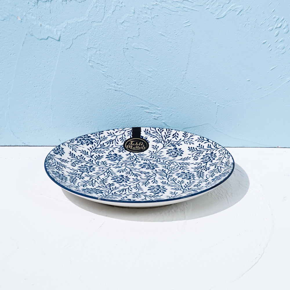Floral Blue - 6 inch Dessert Plate / 8 inch Rice Plate / 10.5 inch Dinner Plate