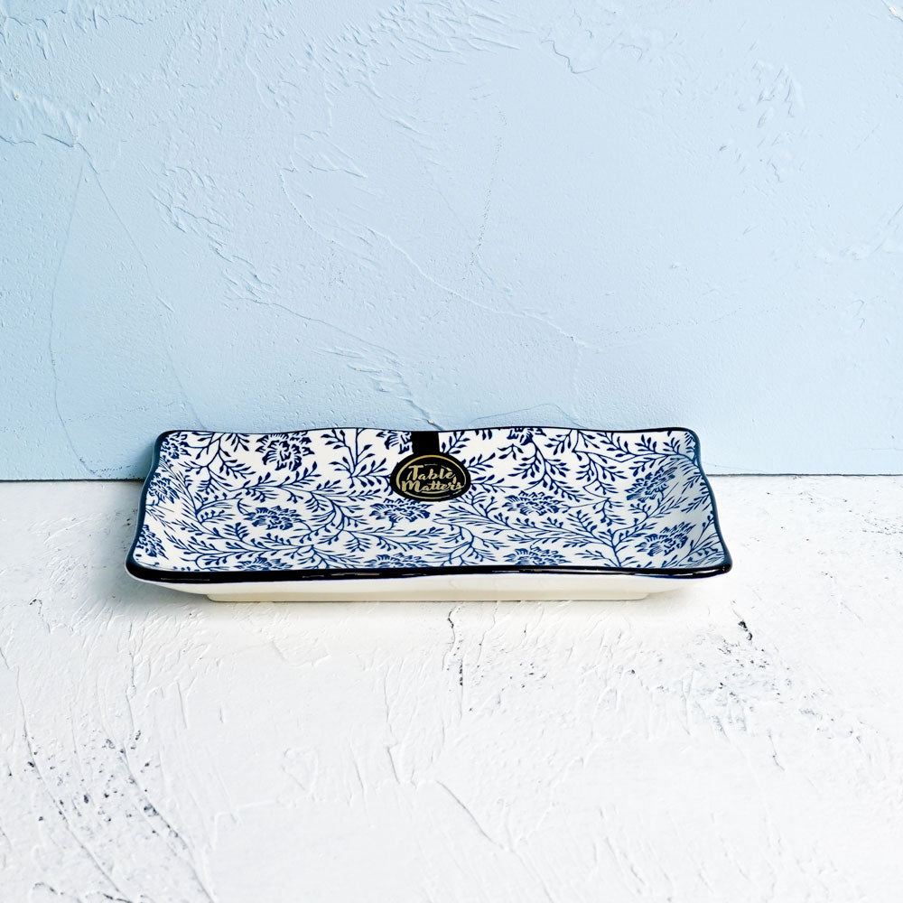 Floral Blue - 8 inch Rectangular Ripple Plate