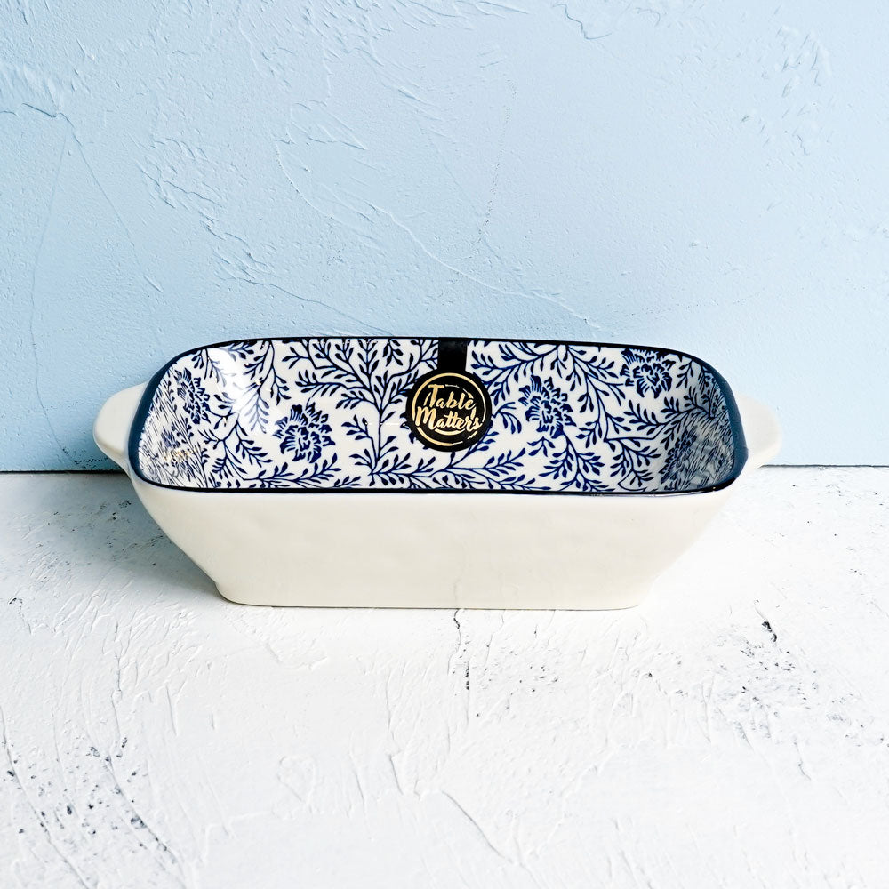 Floral Blue - 8.5 inch Baking Dish with Handles