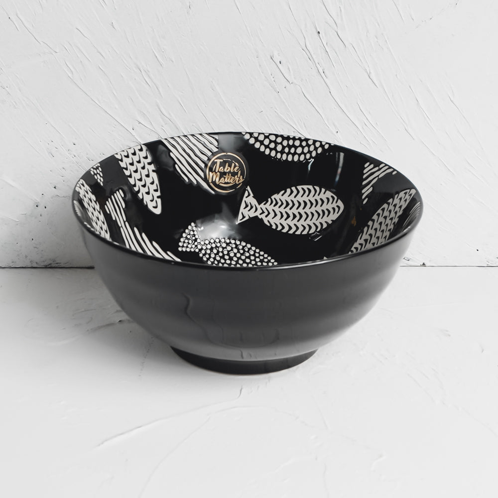 Fishes Ebony - Hand Painted 8 inch Threaded Bowl - Table Matters