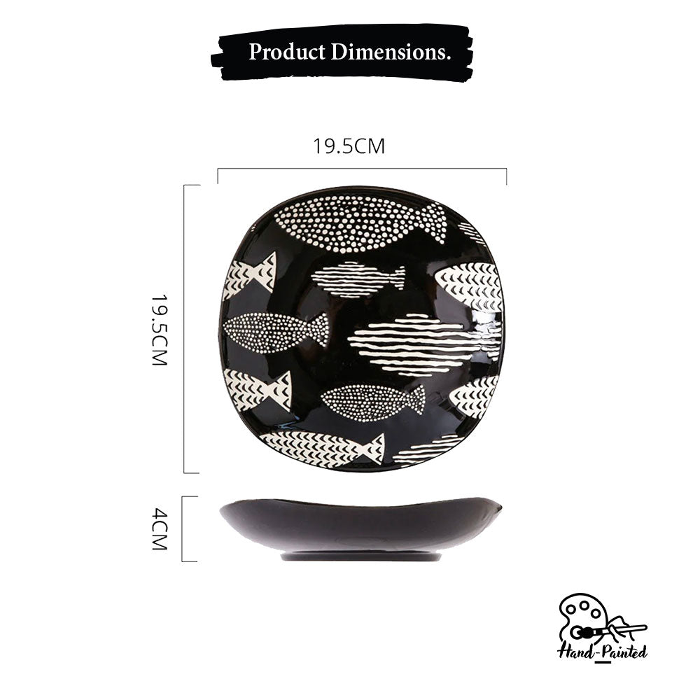 Fishes Ebony - Hand Painted 8 inch Square Plate