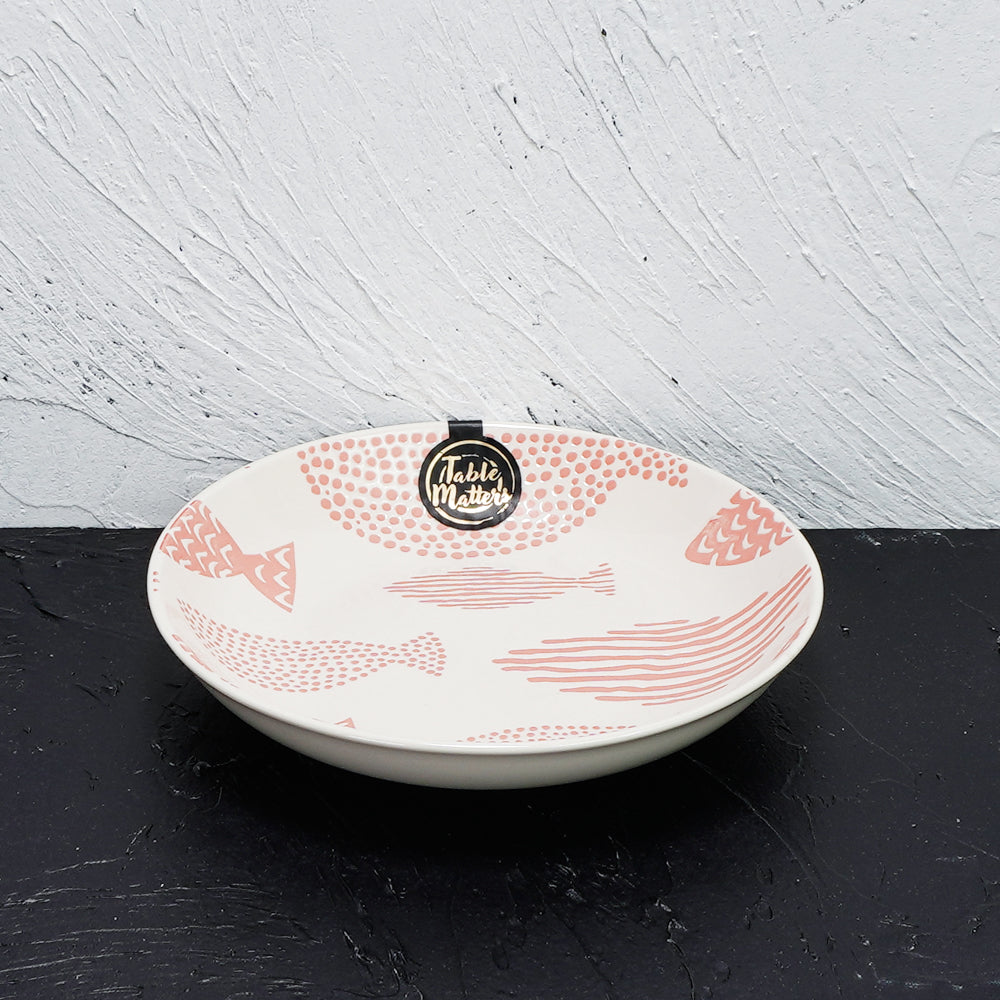 Fishes Pink - Hand Painted 7 inch Coupe Plate - Table Matters