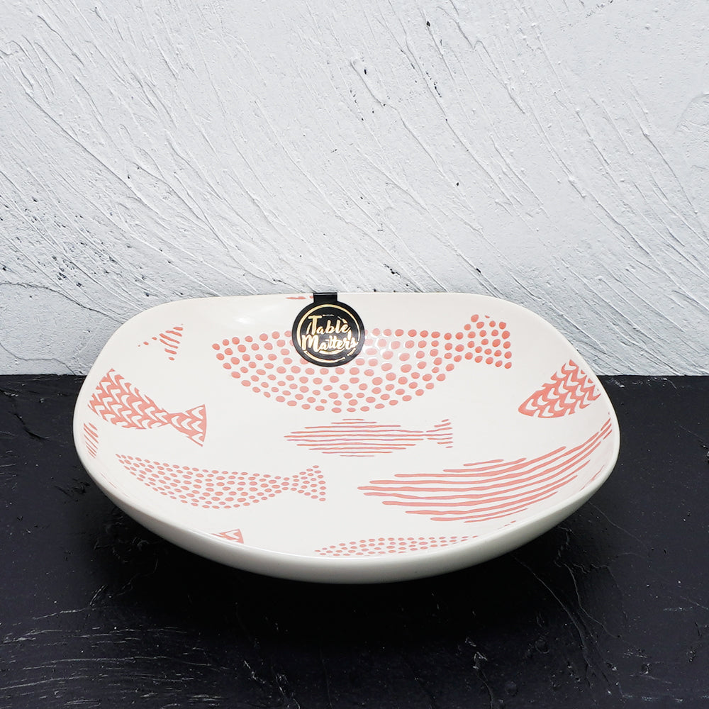 Fishes Pink - Hand Painted 8 inch Square Plate - Table Matters