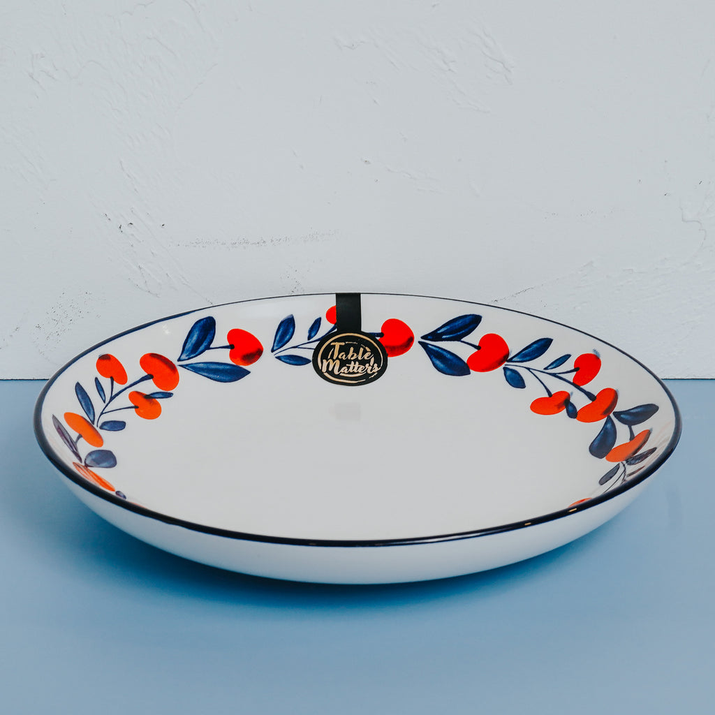 Holiday Berry - Hand Painted 9 inch Coupe Plate