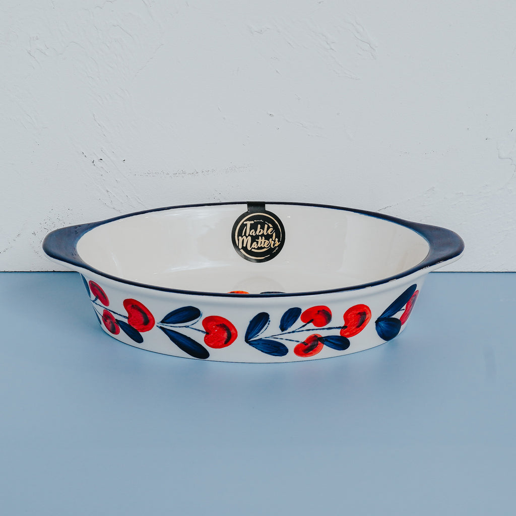 Holiday Berry - Hand Painted 9 inch Baking Dish with Handles