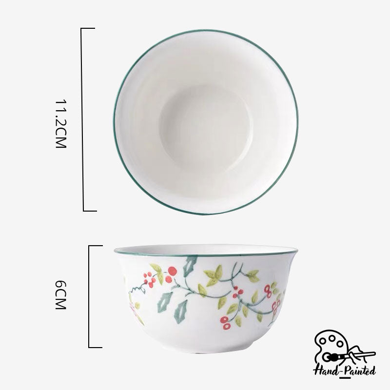 Holly Green - Hand Painted 4.5 inch Rice Bowl - Table Matters