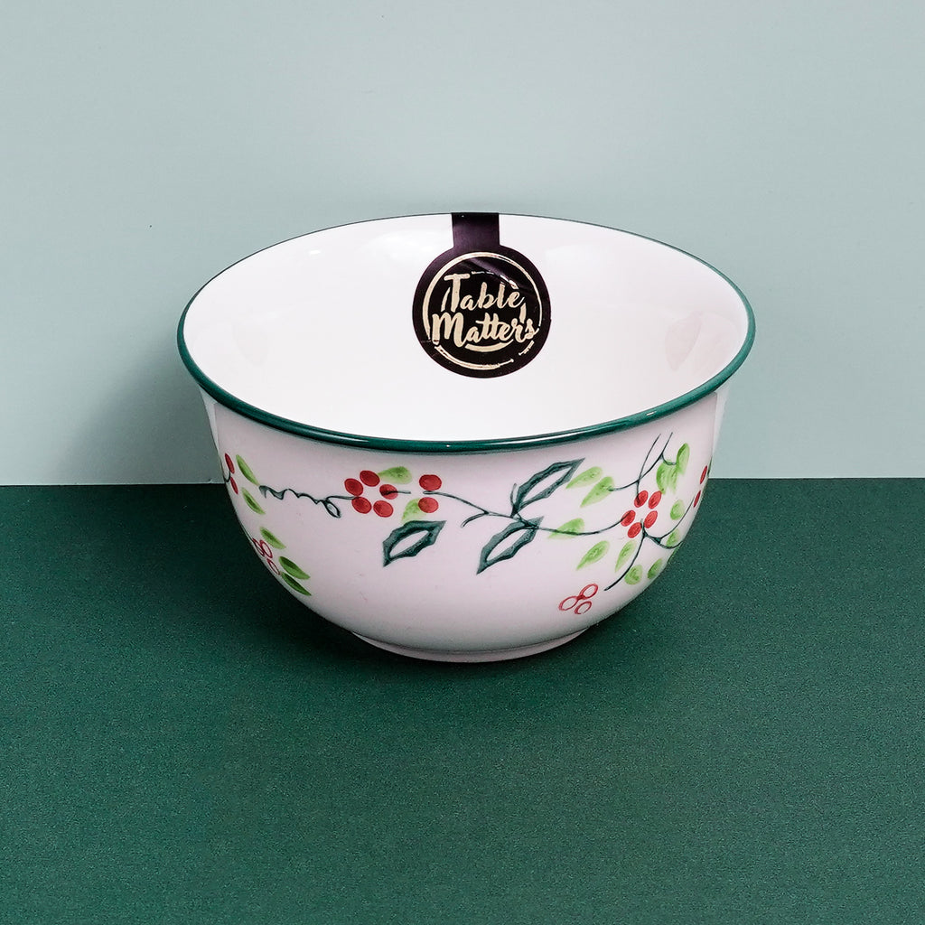 Holly Green - Hand Painted 4.5 inch Rice Bowl