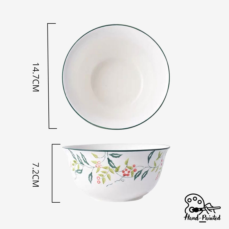 Holly Green - Hand Painted 6 inch Soup Bowl