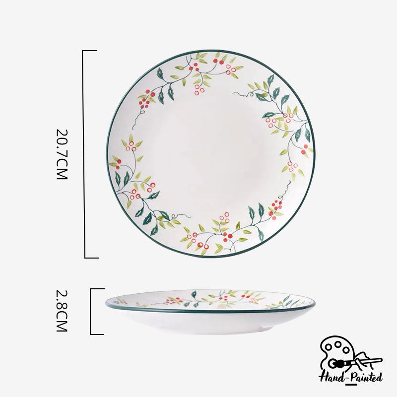 Holly Green - Hand Painted 8 inch Rice Plate