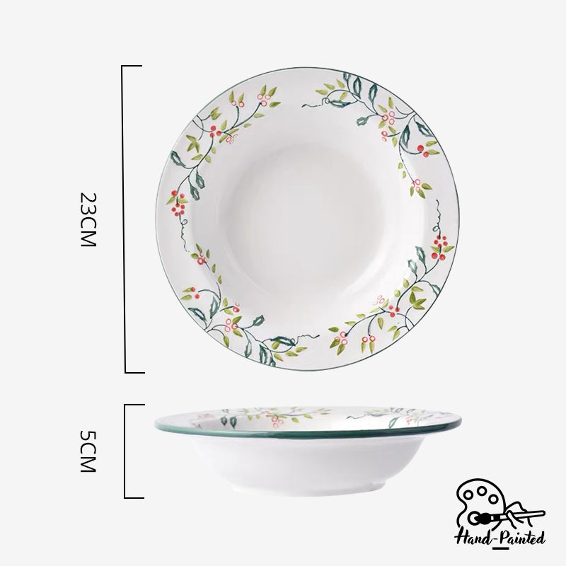 Holly Green - Hand Painted 9 inch Pasta Plate - Table Matters