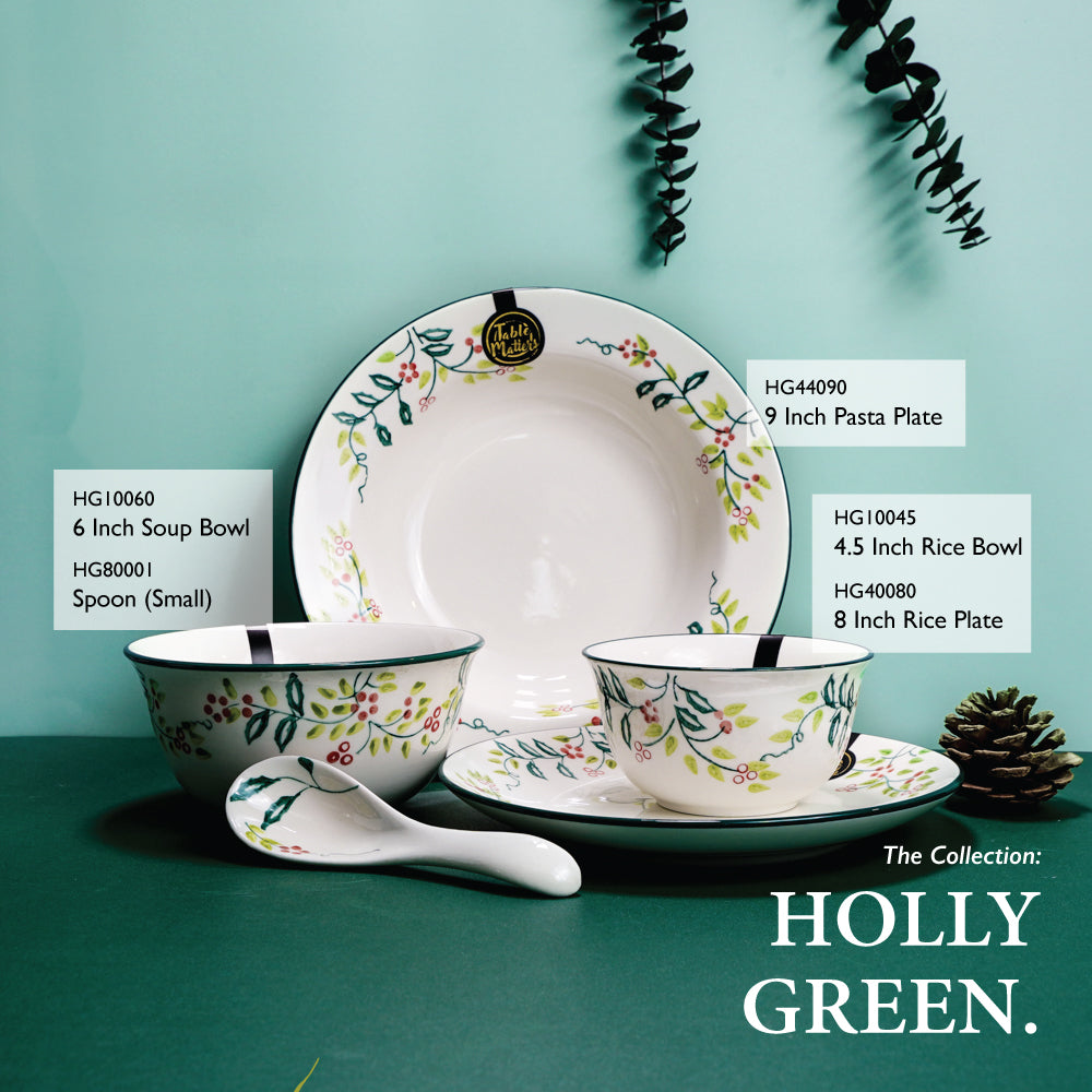 Holly Green - Hand Painted 9 inch Pasta Plate