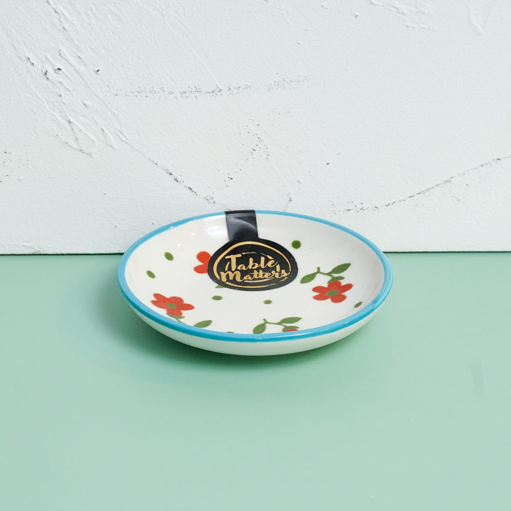 Polka Floral - Hand Painted 3.5 inch Round Saucer