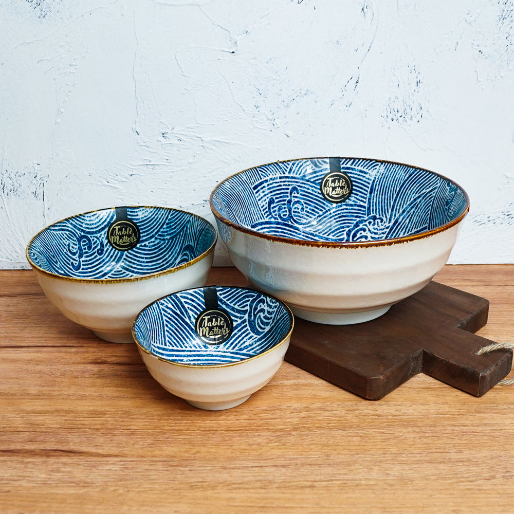 Ripple - 4.5 inch Rice Bowl / 6 inch Soup Bowl / 8 inch Big Serving Bowl