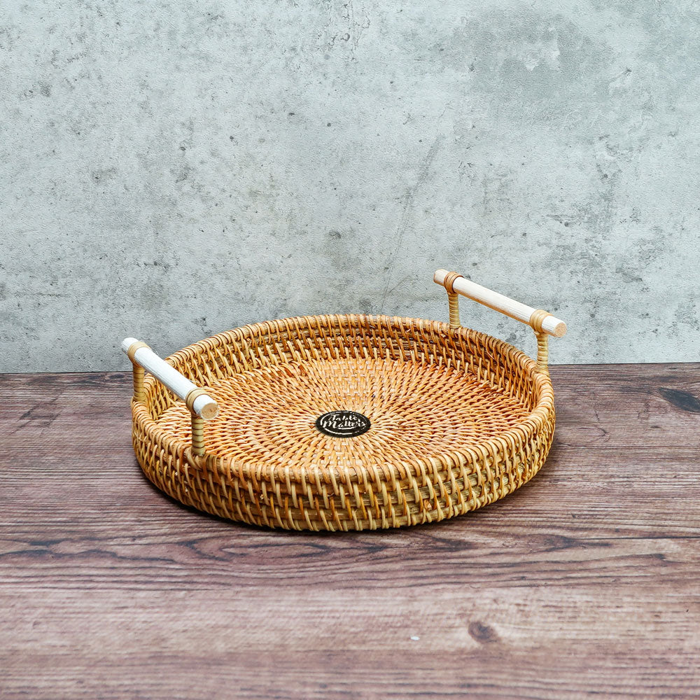 8.5 inch Round Rattan Serving Tray