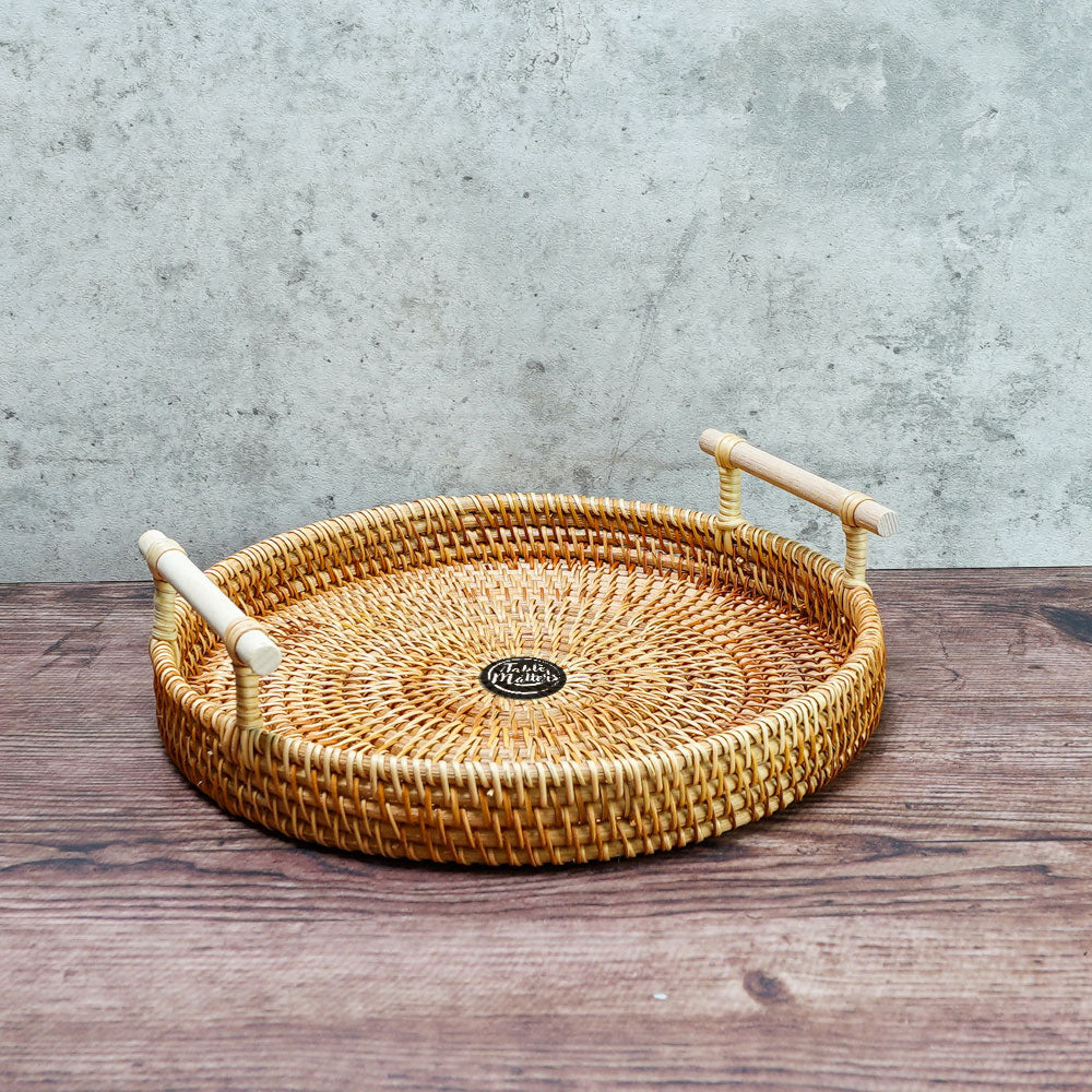 9.5 inch Round Rattan Serving Tray