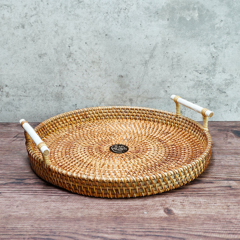 10.5 inch Round Rattan Serving Tray