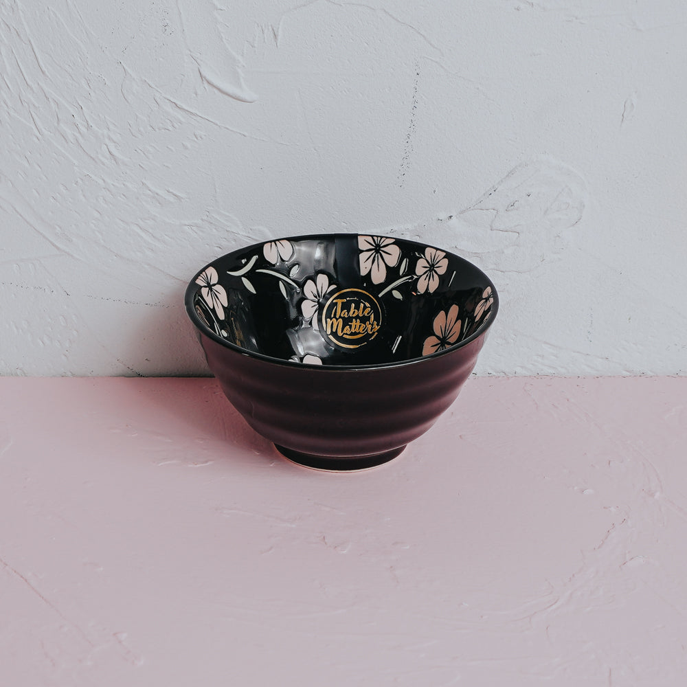Sakura Ebony - Hand Painted 5 inch Threaded Bowl - Table Matters