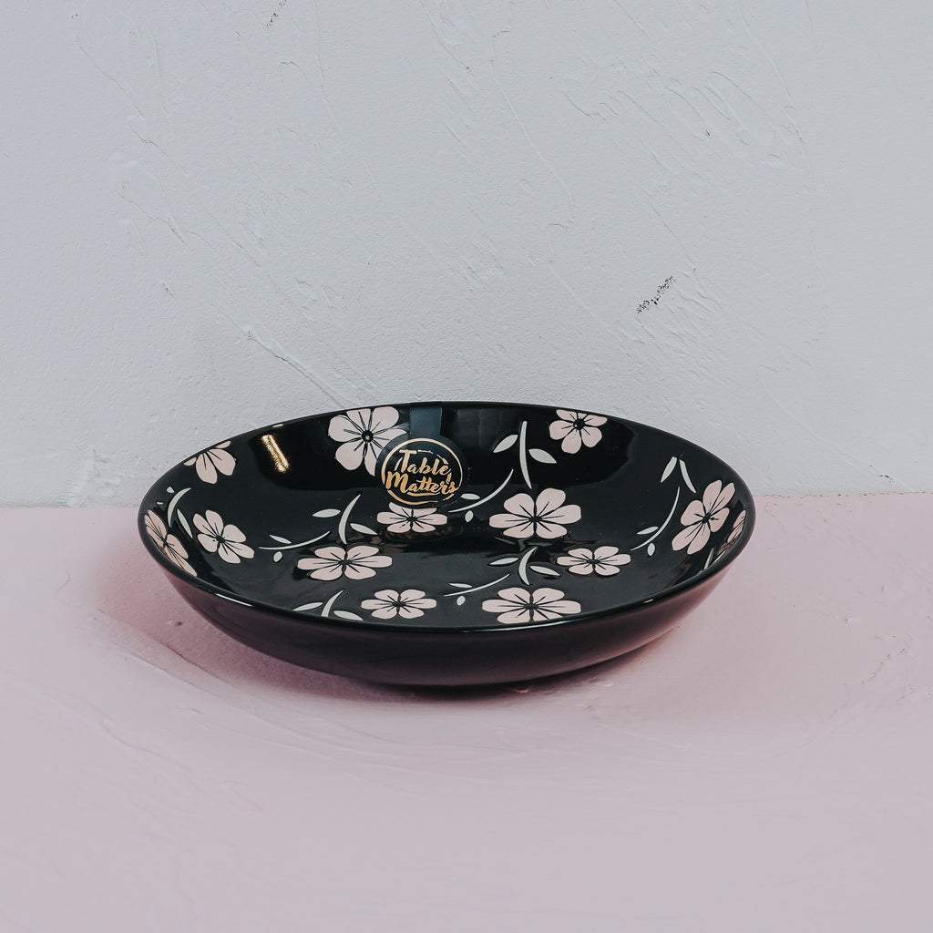 Sakura Ebony - Hand Painted 7 inch Coupe Plate