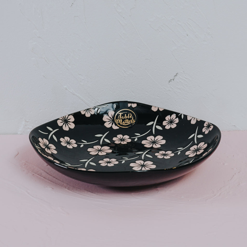 Sakura Ebony - Hand Painted 8 inch Square Plate - Table Matters